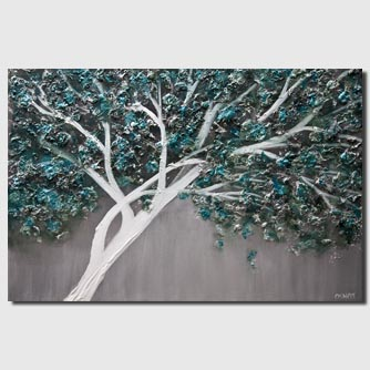 Abstract teal blooming tree painting