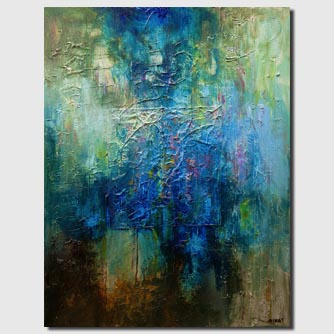 modern blue green heavy textured abstract painting