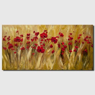 original modern red poppies field textured abstract painting