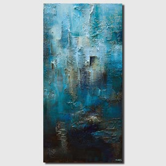 original contemporary blue teal textured abstract painting