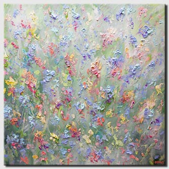 colorful flowers painting large wall art