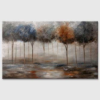 blue brown rust blooming trees abstract painting