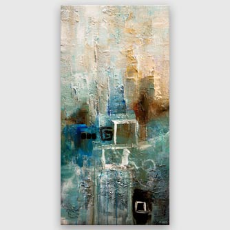 modern turquoise teal abstract painting