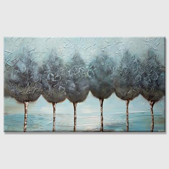 light blue decorative trees painting with silver