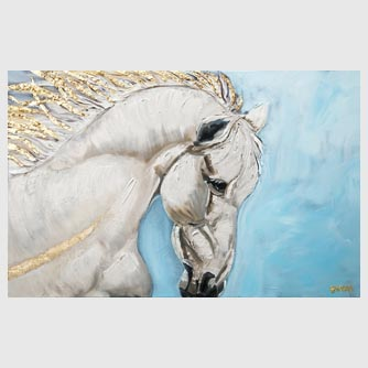 gold white horse abstract painting baby blue background