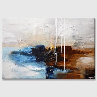 white blue brown rust abstract painting