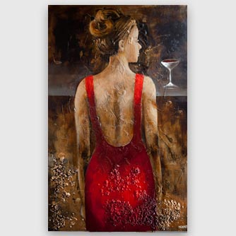 woman at a bar painting, wine glass art