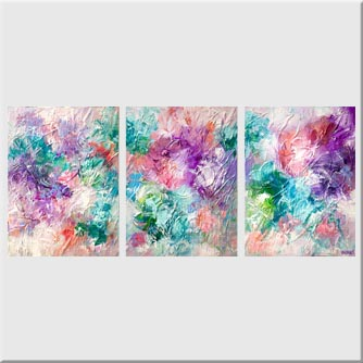 colorful modern floral painting textured art