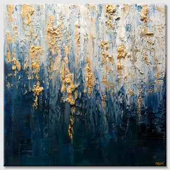 modern heavy texture blue gold abstract art