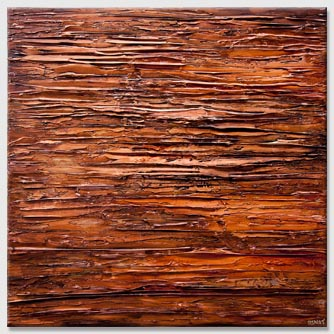brown rust modern palette knife abstract painting