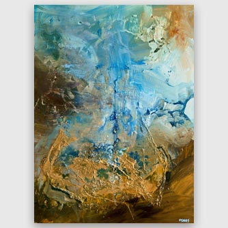 blue gold large modern abstract painting