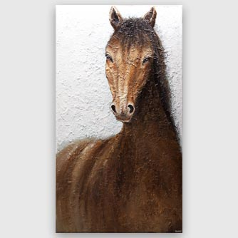 modern large brown horse painting
