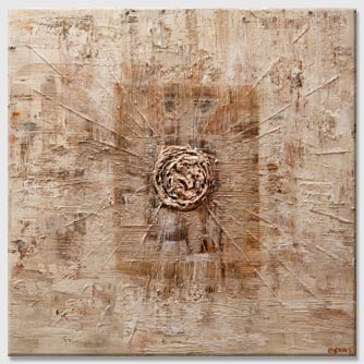 heavy texture cream brown abstract painting
