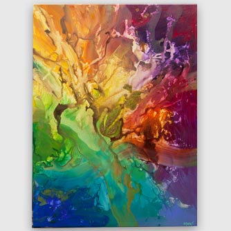 big colorful abstract painting with gold