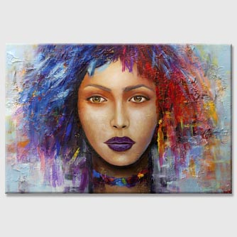 colorful modern woman portrait abstract painting