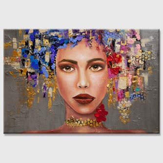 big modern textured woman portrait abstract painting