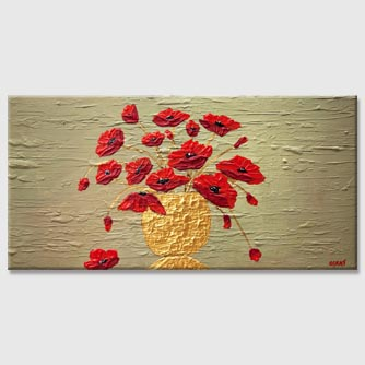 red poppies in gold vase modern textured painting