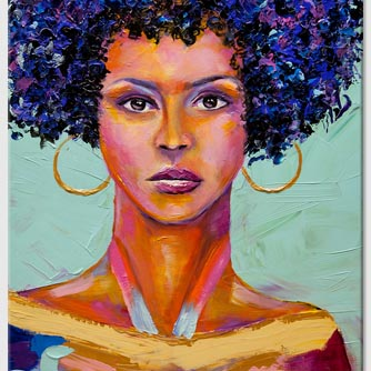 modern colorful African woman portrait painting