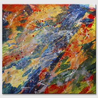 Abstract and colorful print on large canvas