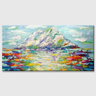 colorful modern palette knife mountains abstract painting
