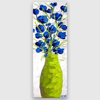 Blue lime green flowers abstract painting