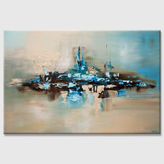 modern light blue beige abstract painting