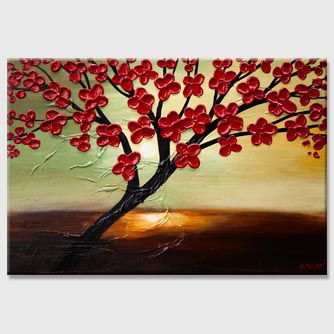 modern red blossom abstract tree painting