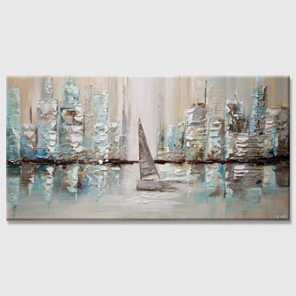 modern sailboat painting skyscrapers abstract painting