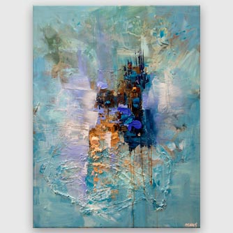 modern big light blue textured abstract painting