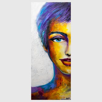 big colorful modern woman portrait abstract painting