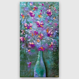 colorful textured spring flowers abstract painting