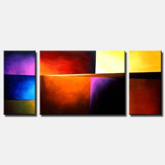 colorful triptych abstract canvas