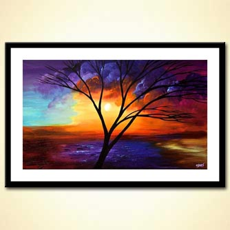 painting of naked tree on colorful background
