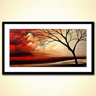 landscape painting naked tree and red clouds