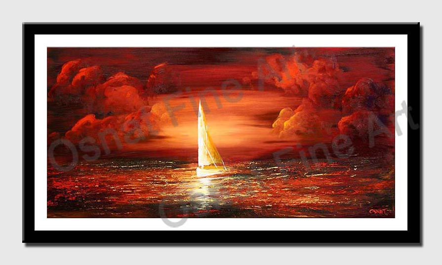 canvas print of sailing boat red clouds