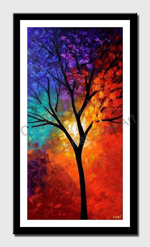 canvas print of vertical colorful landscape tree