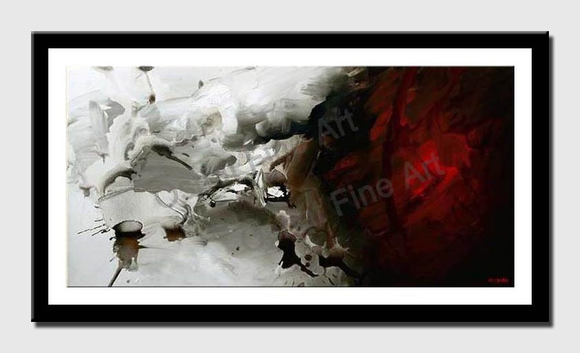 canvas print of red and white abstract modern painting