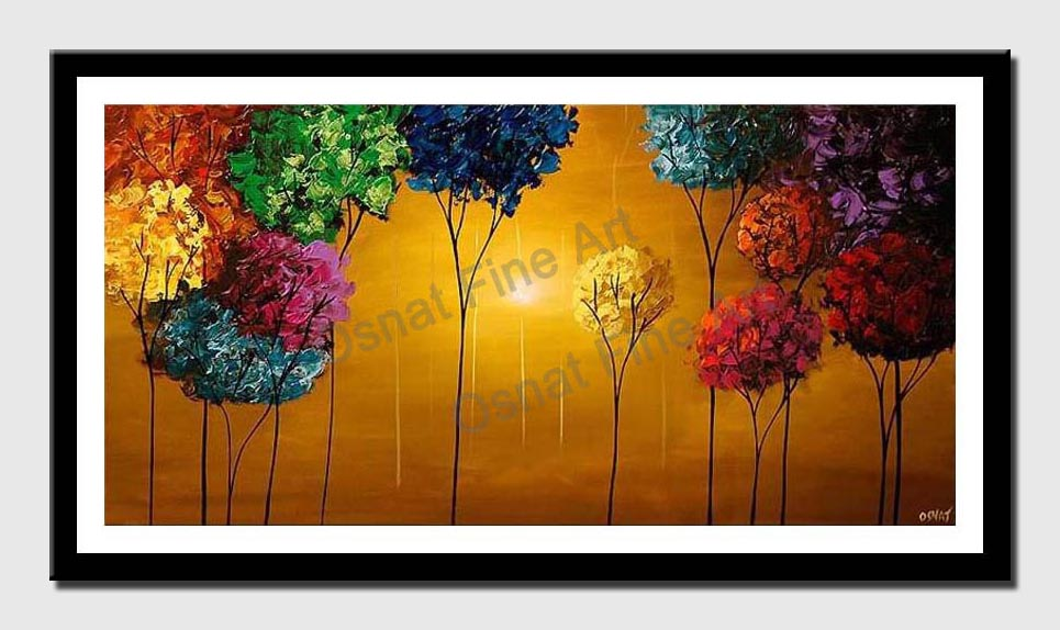 canvas print of colorful blooming trees textured painting