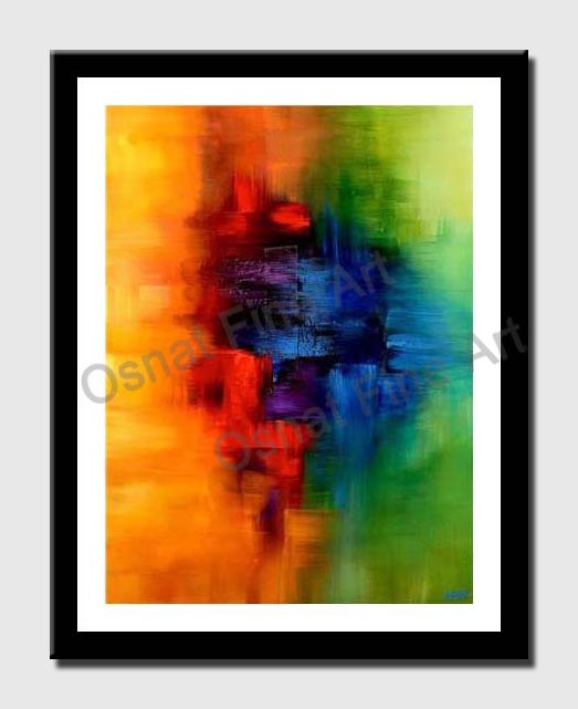canvas print of yellow red blue and green abstract art