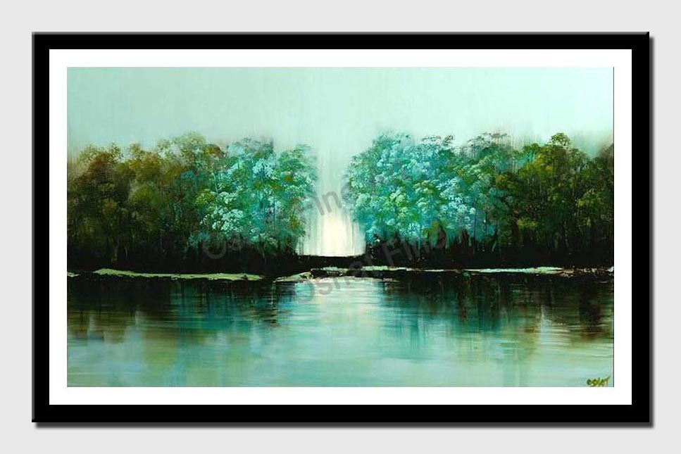 canvas print of green forest reflection water bank