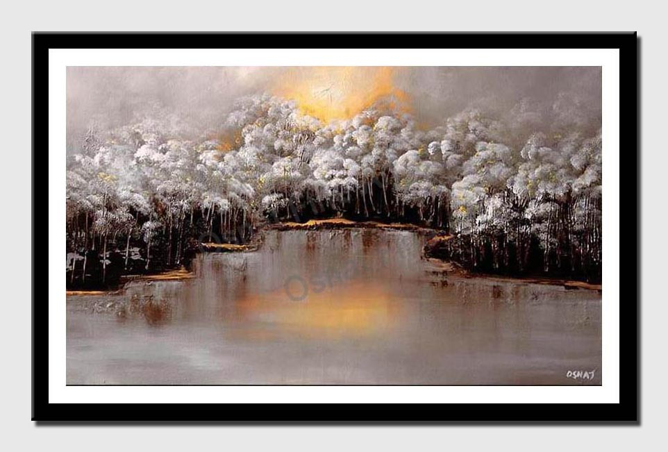 canvas print of landscape painting white forest near a river