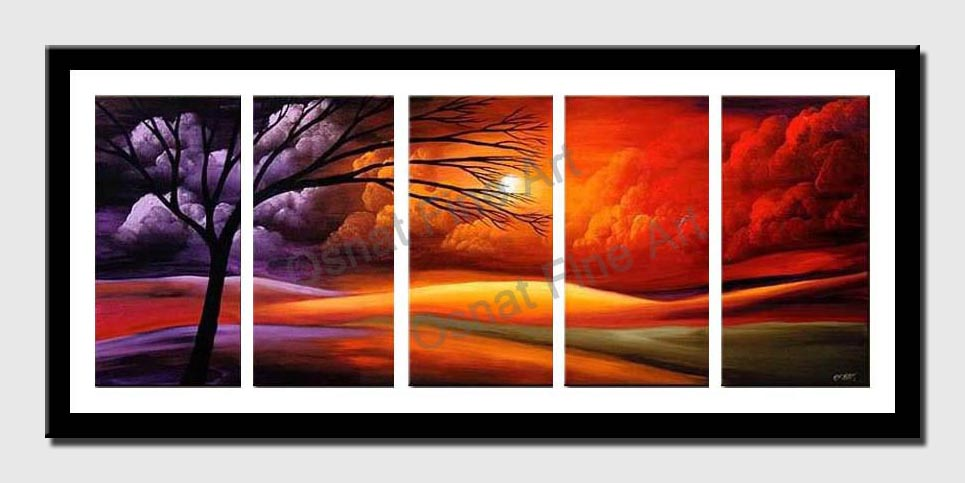 multi panel landscape painting of sunset in red