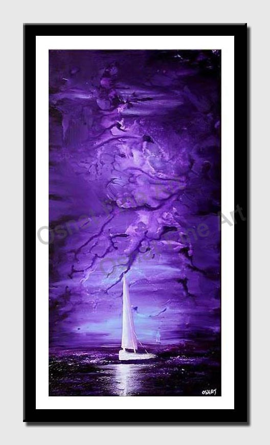 canvas print of vertical purple abstract painting of sail boat