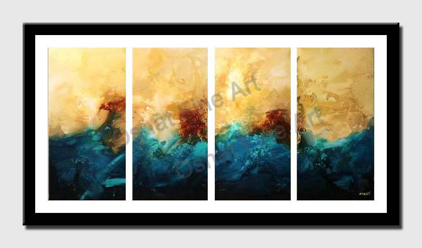 canvas print of multi panel blue and yellow decor