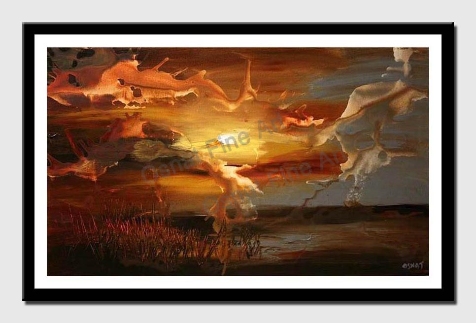 canvas print of abstract landscape of sunset
