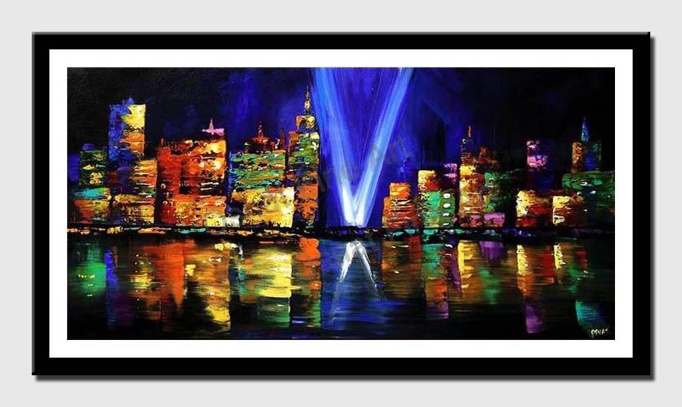 canvas print of new york skyline at night