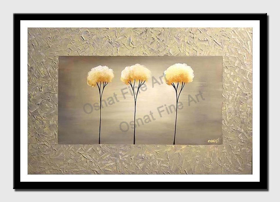 canvas print of abstract painting three trees in frame