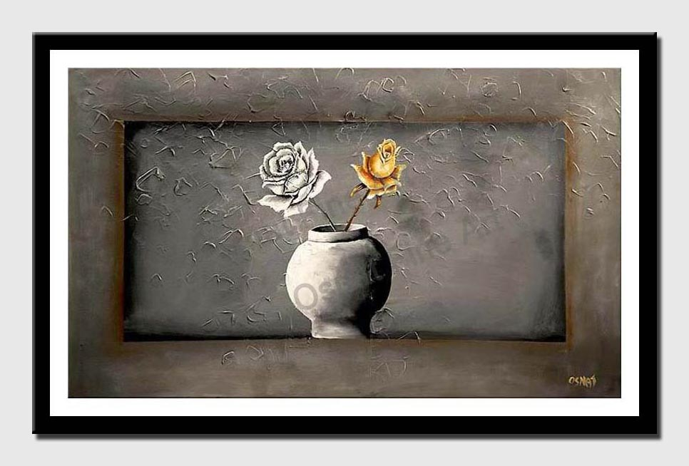 canvas print of gray vase with 2 roses gray background