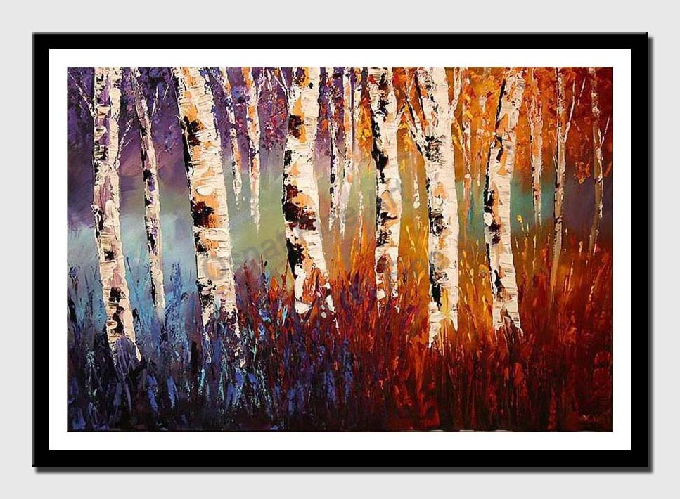 canvas print of colorful forest of birch trees