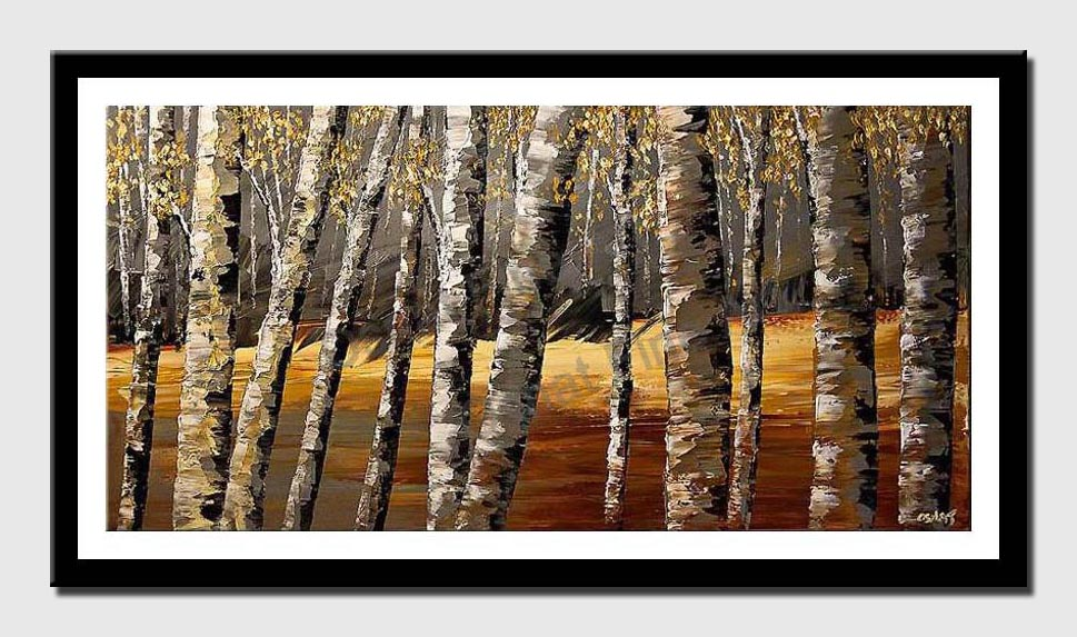 canvas print of textured painting birch trees